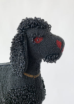 Vintage Late 1940s Beaded Dog Clutch Purse