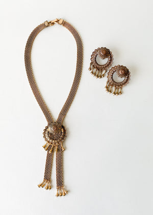 Vintage 1940s Brass Necklace and Earrings