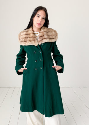 Vintage 1940s Green Wool Princess Coat