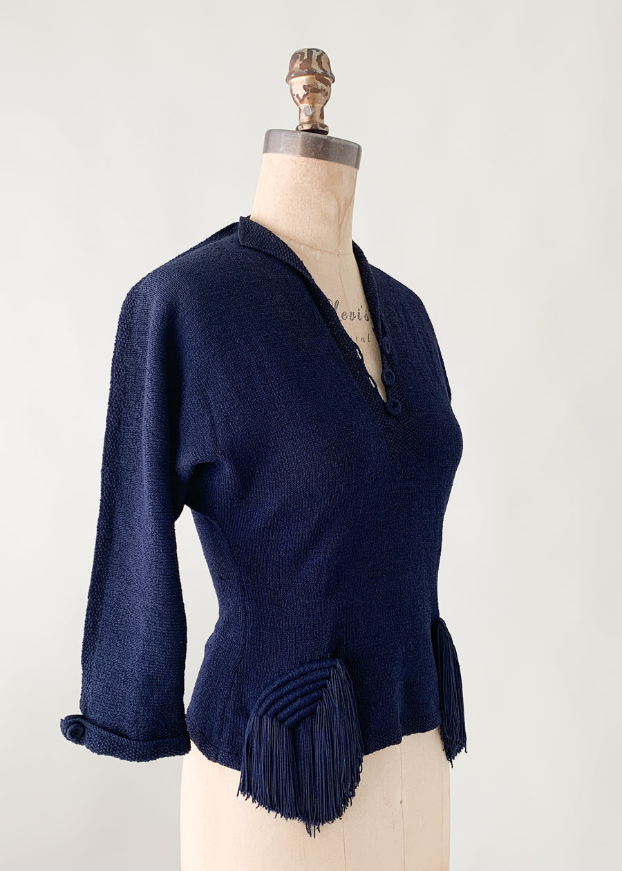 Vintage 1940s Sweater with Tassels