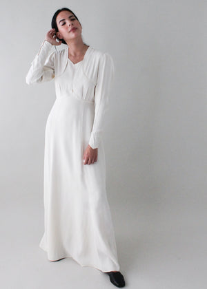 Vintage Early 1940s Ivory Full Length Dress