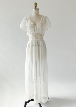 Vintage 1940s Sweetheart Cotton Dress