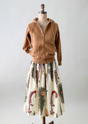 Vintage 1950s Feather Print Skirt