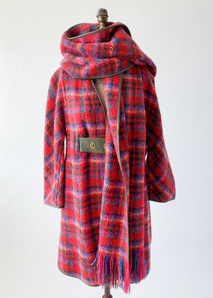 Vintage 1960s Bonnie Cashin Plaid Coat and Scarf