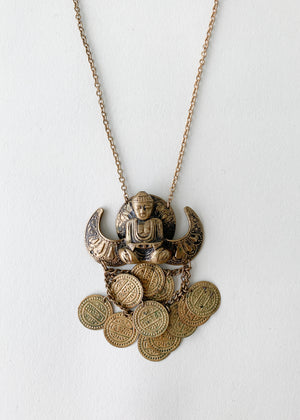 Vintage 1960s Meditating Buddha Necklace