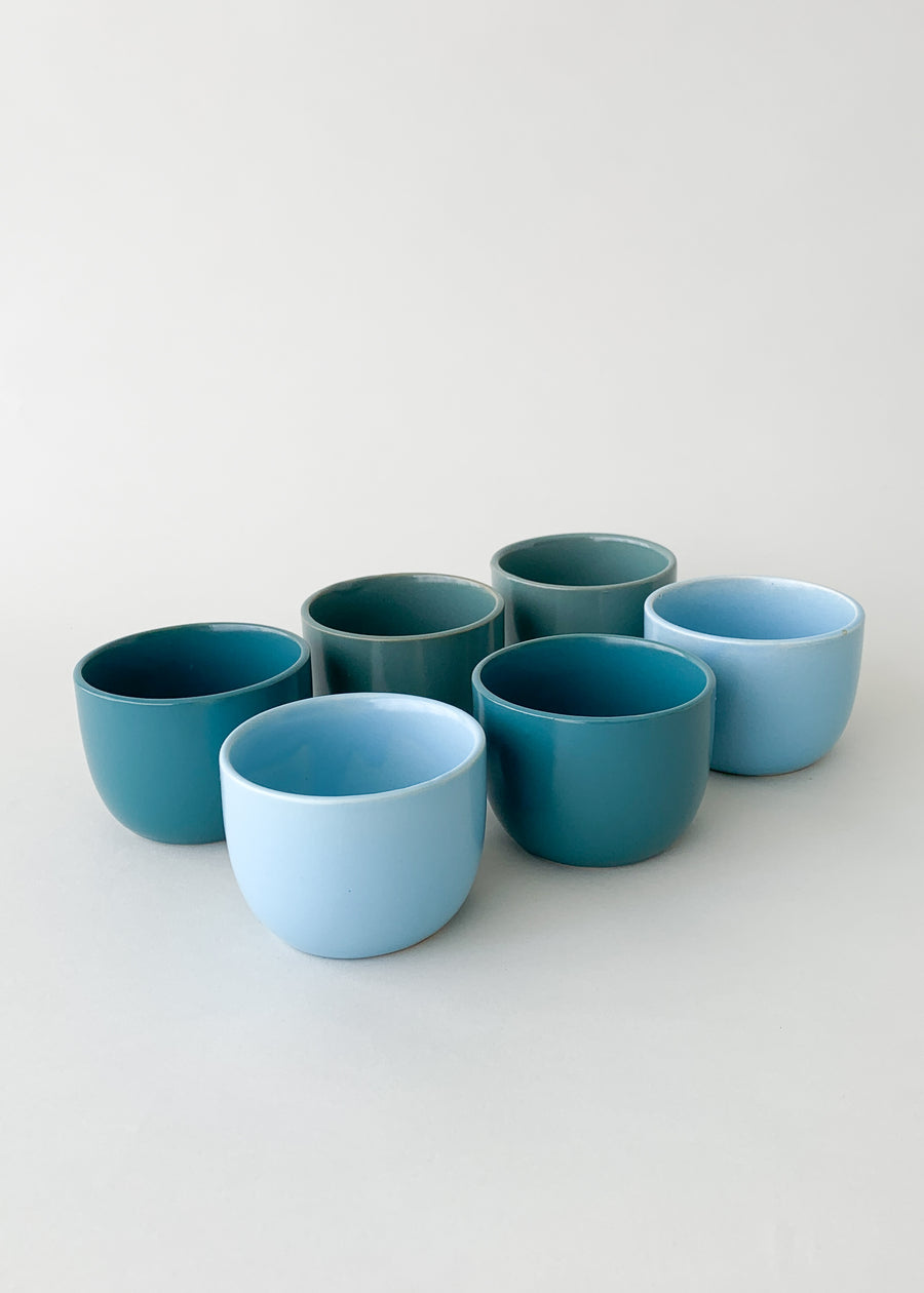 Vintage MidCentury Cup Set - Blues