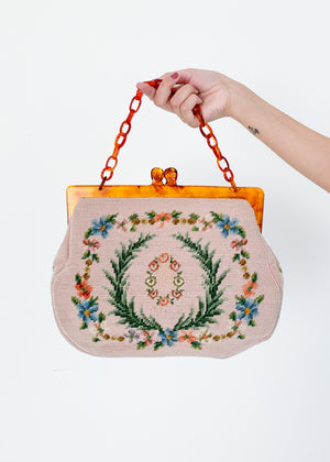 Vintage 1960s Oversized Needlepoint Purse
