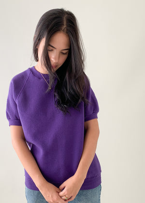 Vintage 1980s Purple Short Sleeve Sweatshirt