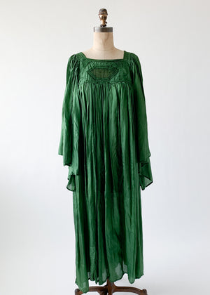 Vintage 1960s Emerald Green Pleated Dress