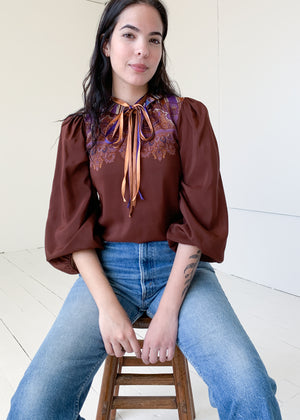 Vintage 1970s French Ruffle Neck Blouse