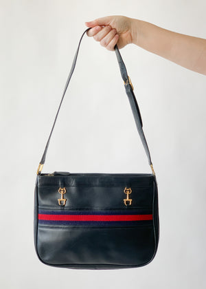 Vintage 1970s Navy Leather Purse