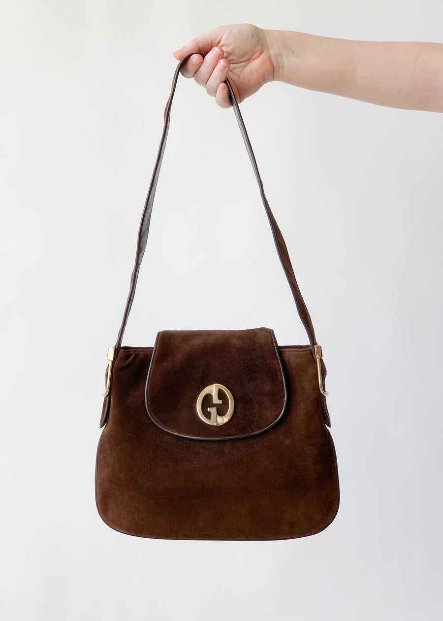 Vintage 1970s Gucci Brown Suede Purse