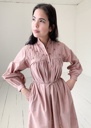 Vintage 1970s Mauve Indian Cotton Dress