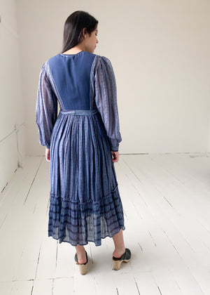 Vintage 1970s Indian Cotton Dress with Lurex Stripes