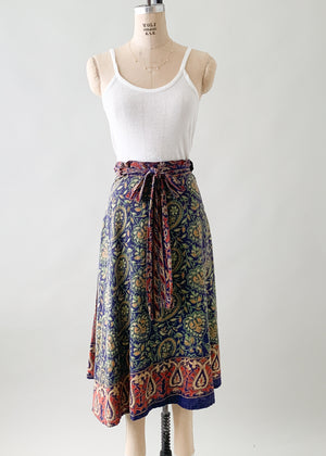 Vintage 1970s Indian Cotton Wrap Skirt