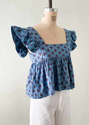 Vintage 1970s Indian Cotton Blue Ruffle Top
