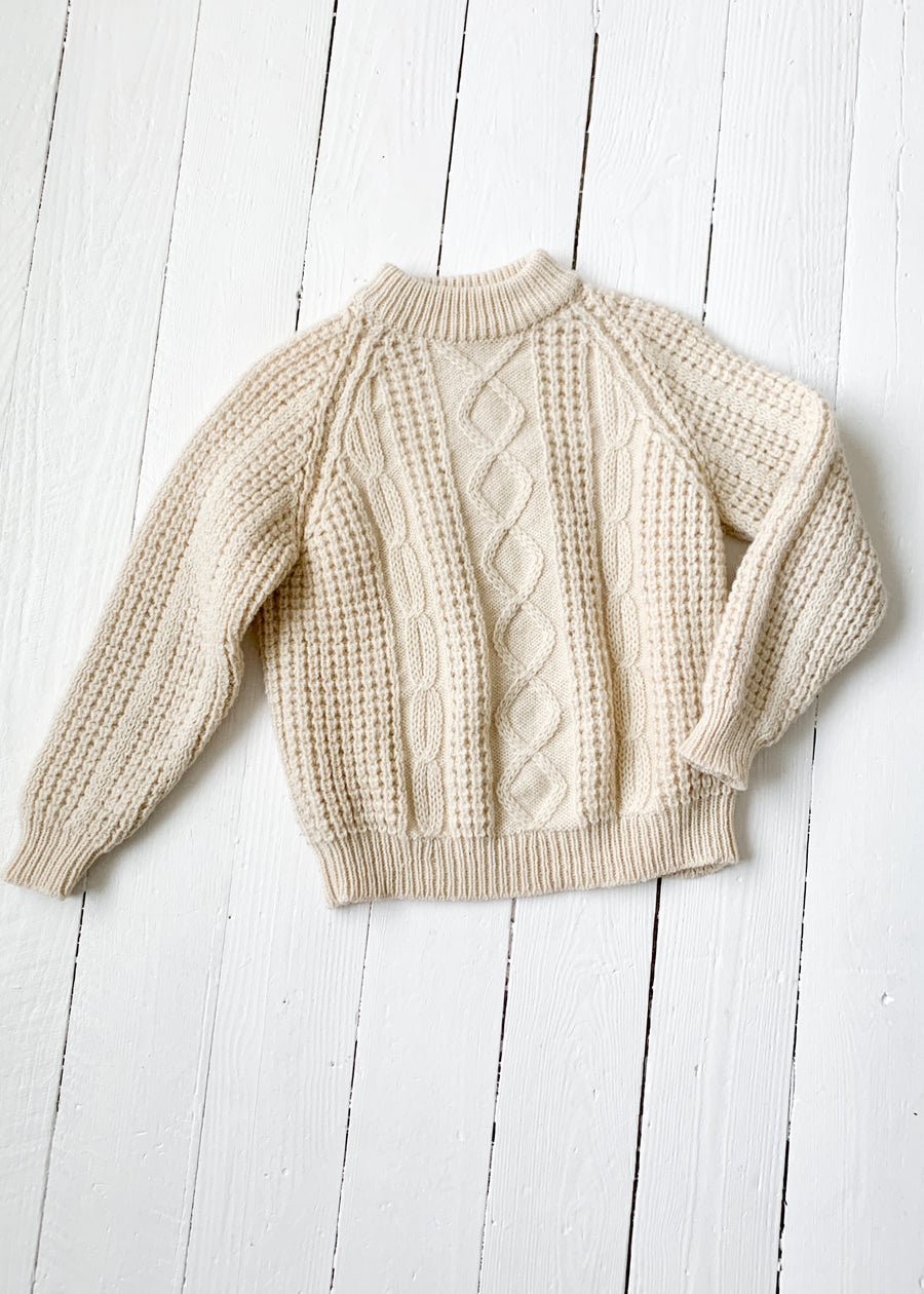 Vintage 1970s Hand Knit Fisherman Sweater