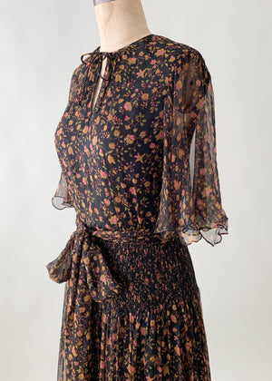 Vintage 1970s Treacy Lowe Indian Silk Dress