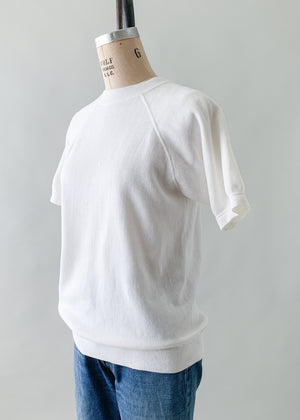 Vintage 1970s White Short Sleeve Sweatshirt