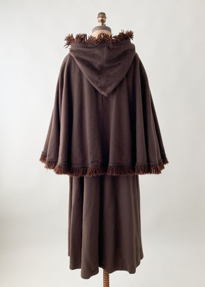 Vintage 1970s YSL Hooded Cape Coat