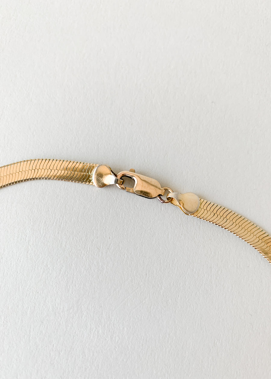 Vintage Gold-toned Herringbone Chain Necklace