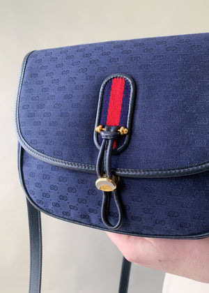 Vintage 1970s Gucci Navy Monogram Crossbody
