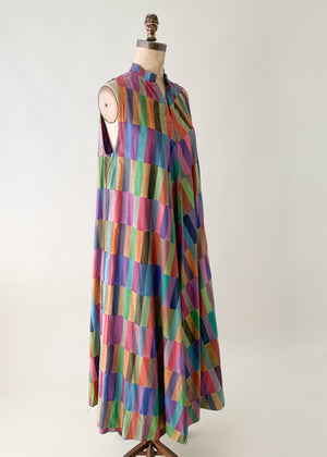 Vintage 1970s Color Block Cotton Dress