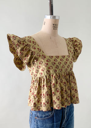 Vintage 1970s Indian Cotton Ruffle Top