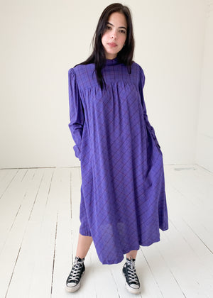 Vintage 1970s Purple Plaid Dress