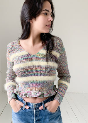 Vintage Rainbow Lurex Sweater with Angora Stripes