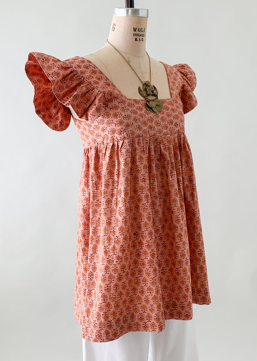 Vintage 1970s Indian Cotton Ruffle Tunic Top