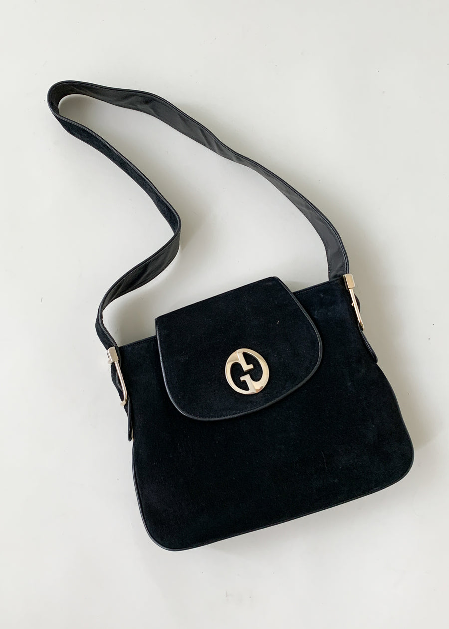 Vintage 1970s Gucci Black Suede Purse