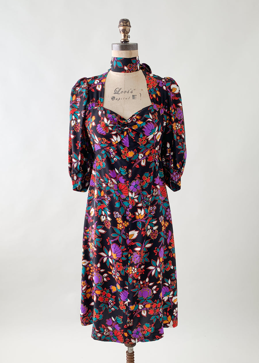 Vintage 1980s Yves Saint Laurent Silk Floral Dress