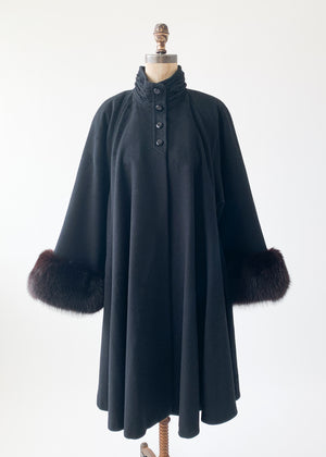 Vintage 1980s Black Swing Coat with Mink Trim