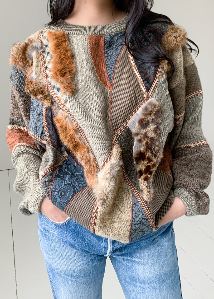 Vintage Patchwork and Fur Oversized Sweater