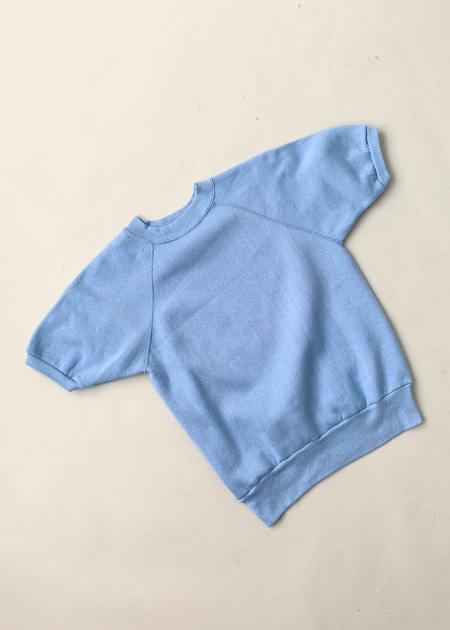 Vintage 1980s Faded Blue Short Sleeve Sweatshirt