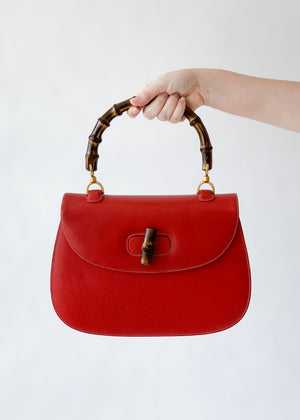 Vintage Early 1990s Red Gucci Bamboo Handle Bag with Strap