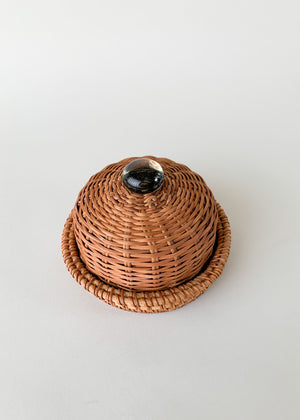 Vintage Wicker and Glass Domed Cheese Tray