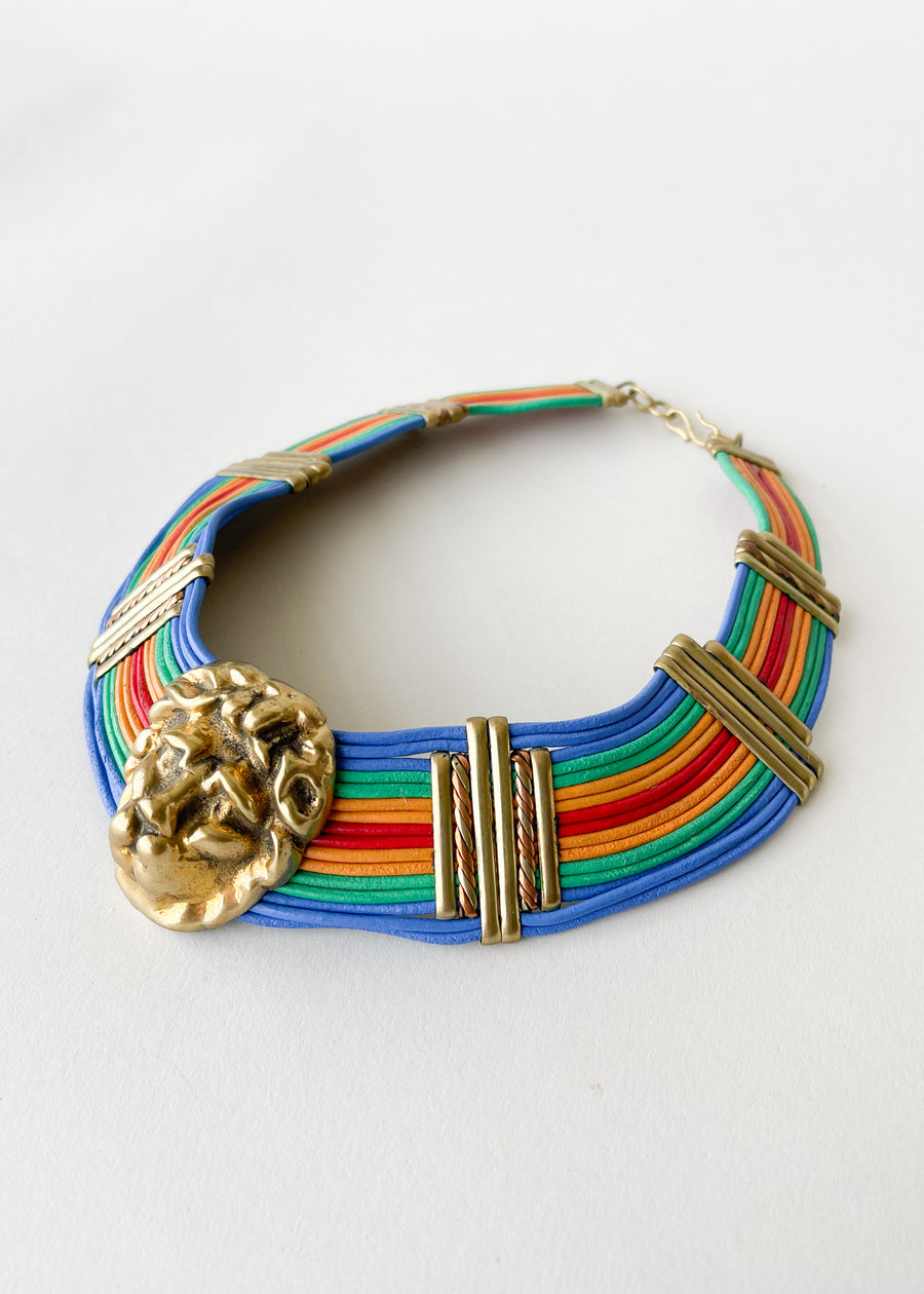 Vintage 1980s Lion Head Rainbow Choker