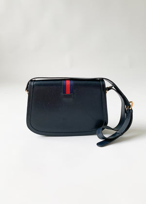 Vintage 1970s Navy Gucci Leather Stripe Purse