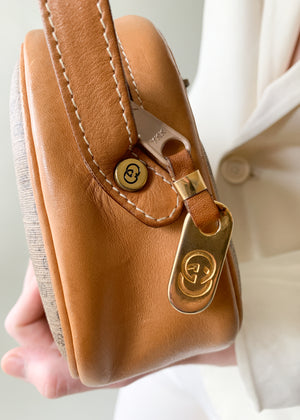 Vintage 1980s Gucci Tan Monogram Crossbody