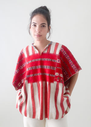 Vintage Red and White Huipil