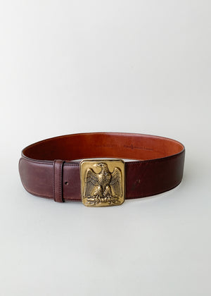 Vintage Ralph Lauren Brass Eagle Leather Belt