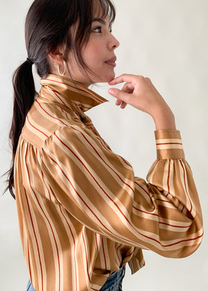 Vintage YSL Silk Neck Tie Blouse