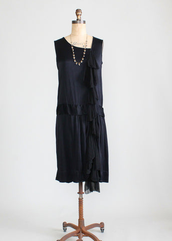 Vintage 1920s Silk Chiffon Waterfall Flapper Dress