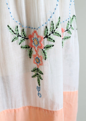 Vintage 1920s Embroidered Lawn Dress
