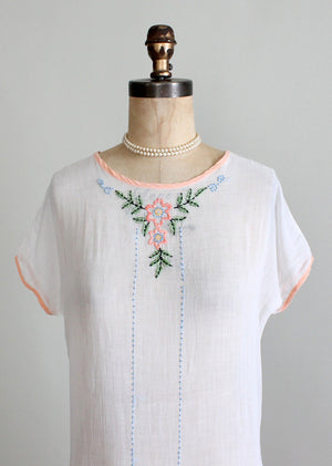 Vintage 1920s Cotton Batiste Summer Dress