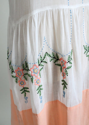 Vintage 1920s French Knot Cotton Dress