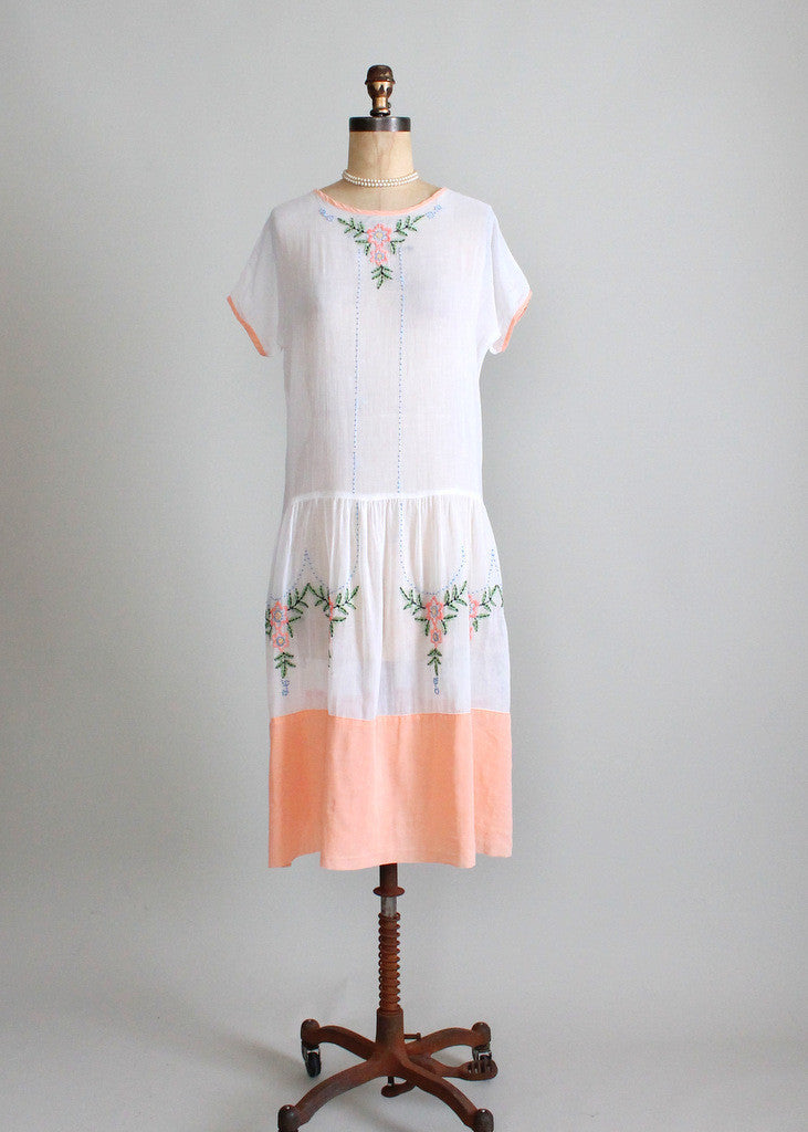 Vintage 1920s Embroidered Lawn Party Dress