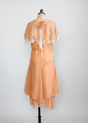 Vintage 1930s peach chiffon party dress